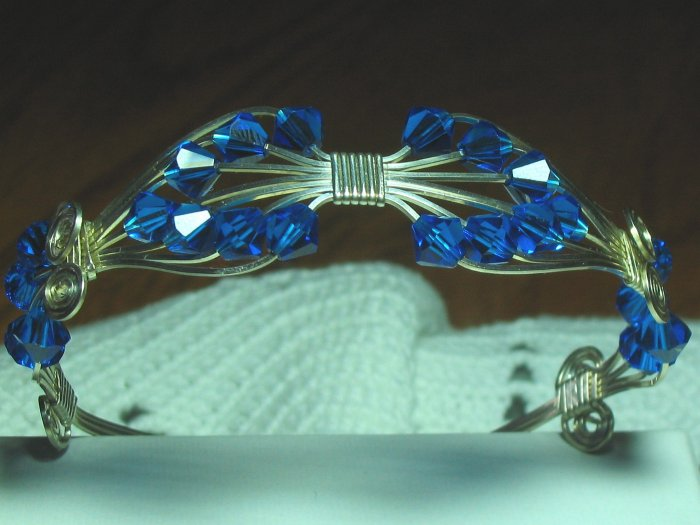 Stunning Artist Sterling Silver & Swarovski Cuff Bracelet
