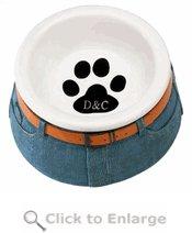 Paw Print Jeans Pet Bowl