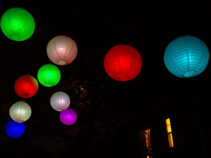 OZ-12 Package of 12 color changing LED paper lanterns