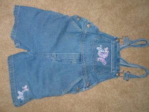 Jean shortalls w/purple butterfly