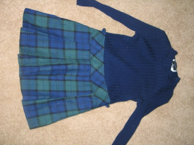 Black & blue/green plaid dress