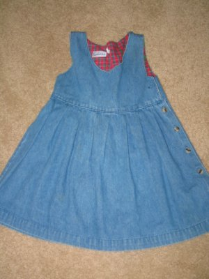 Jean Dress w/red plaid inside