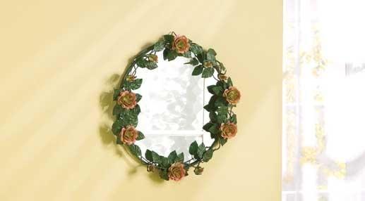 Distress green roses mirror