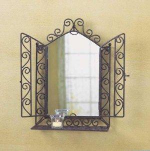 Ornate wall mirror with shelf