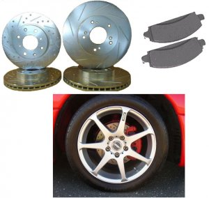 Audi A6 FWD 02-04 Performance Cross Drilled/Slotted Rotors & Pads Kit