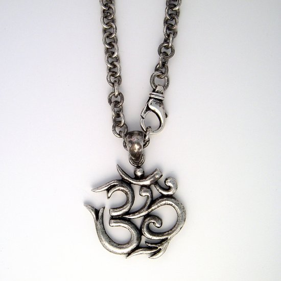 Large Sterling Silver Ohm Om Necklace 20""""