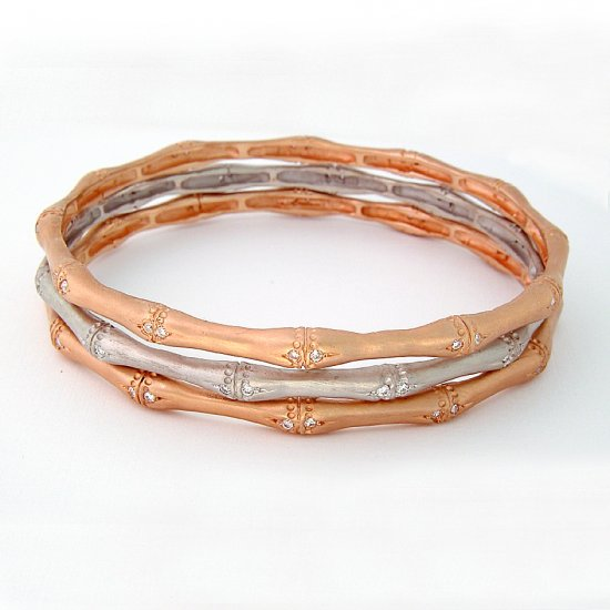 White Gold & Diamond Bamboo Bangle