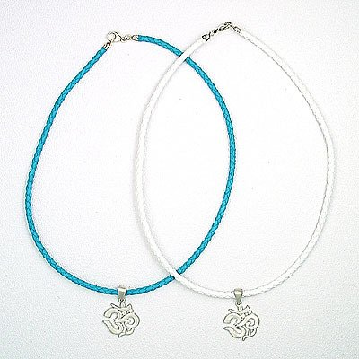 """Sterling Silver Ohm Om Necklace 16"""""""" braided leather"""