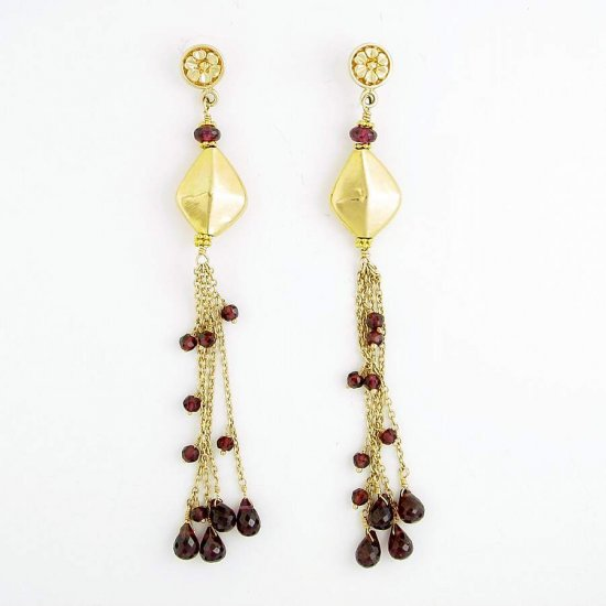 Gold Garnet Hanging Sweep Kite Earrings