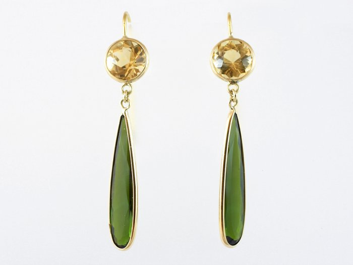 Yellow Beryl Earrings with Tourmaline Faceted Drops