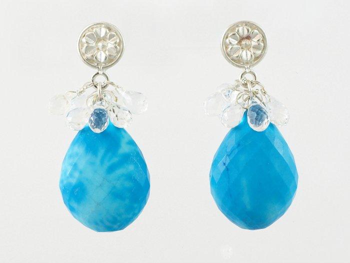 Turquoise & Sterling Silver Flower Cap Drop EARRInGs