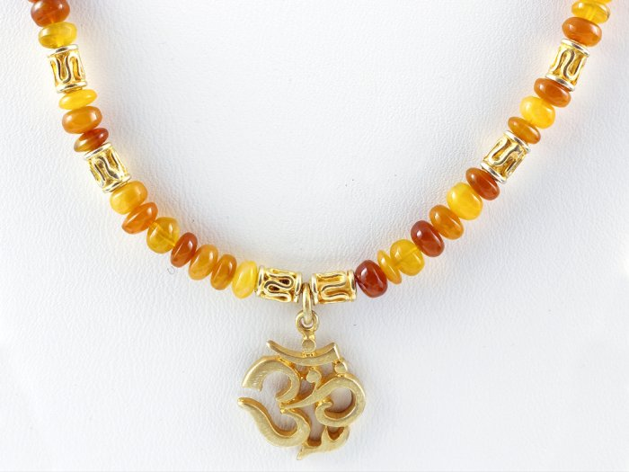Necklace Austrian OPALS, Gold OM OHM