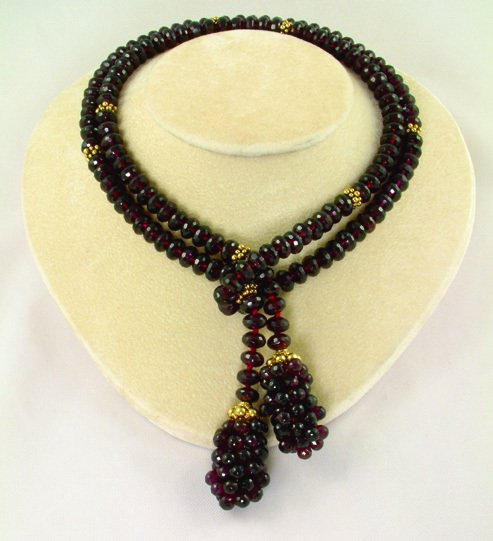 Garnet Lariat Necklace