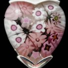 PINK Murano Glass Heart with Sterling Silver Pendant
