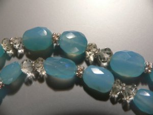 Necklace of Blue Calcite, Aquamarine and Sterling Silver