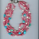 Pink Coral, Turquoise & Pearls Necklace