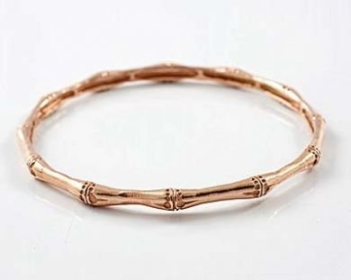 PINK GOLD & Sterling Silver Bamboo Bracelet Bangle