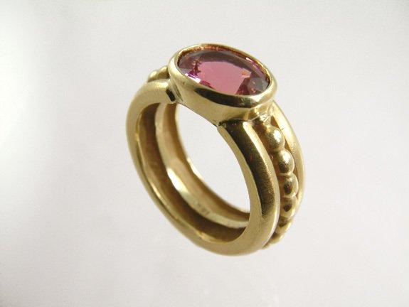 18kt Gold & Pink Tourmaline Ring, size 5