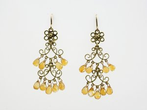 2 Tier Filigree Earrings with Citrine Droplets