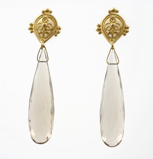 Smokey Topaz Faceted Drop Earrings