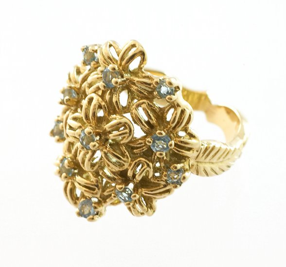 Women's 18k Gold FLOWER RING with Blue Topaz, SIZE 5