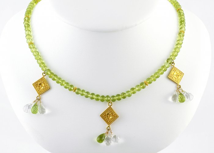 Green Peridot with 18k Gold Drops Necklace
