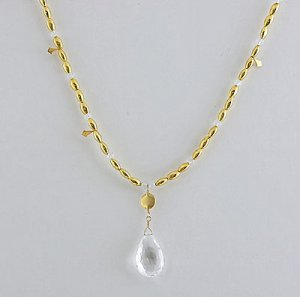18k Gold & White Topaz Brilolette Drop Necklace
