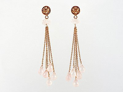 Pink Gold Chain Earrings With Rose Quartz