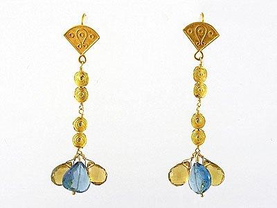 Cognac Quartz Droplets, Blue Topaz & 18k Gold