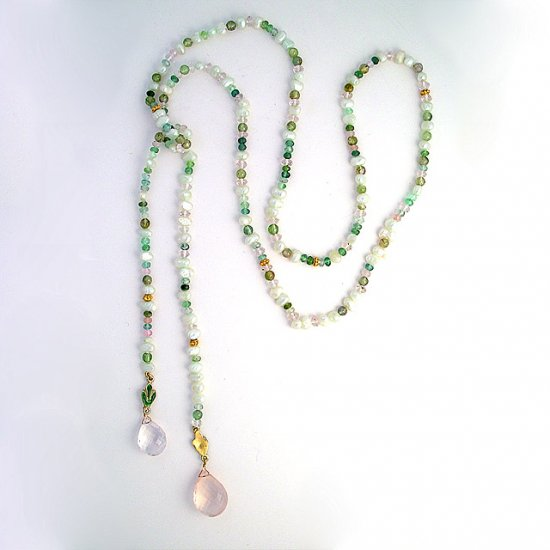 Rose Quartz & Verigated Tourmaline Lariat Necklace