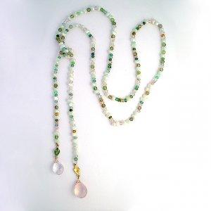 Rose Quartz & Verigated Tourmaline Lariat Necklace