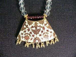 Garnets & Indian Enamel Pendant