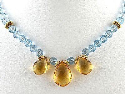Citrine Briolettes and Blue Topaz Necklace