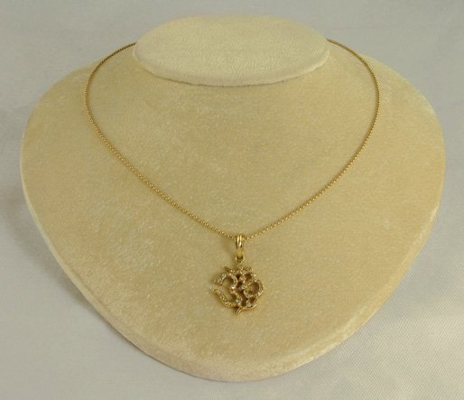 14k Gold OM with Pave Diamond Necklace