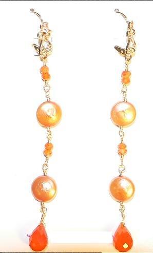 Orange Coin Pearls & Carnelian Earrings
