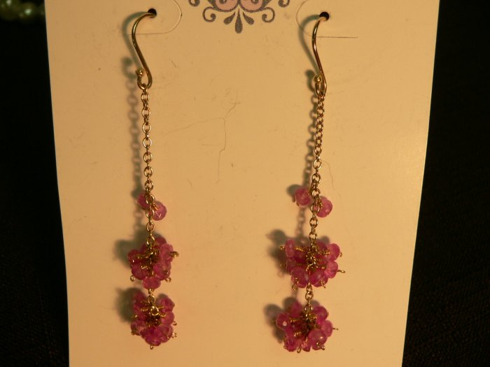 Pink Sapphires Cluster Earrings