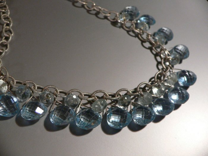 Blue Topaz & Aquamarine with Sterling Silver Necklace