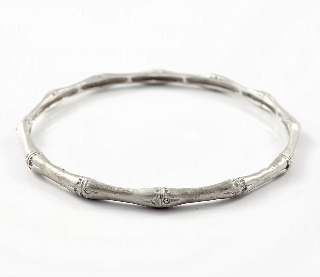 Solid White Gold Bamboo Bangle