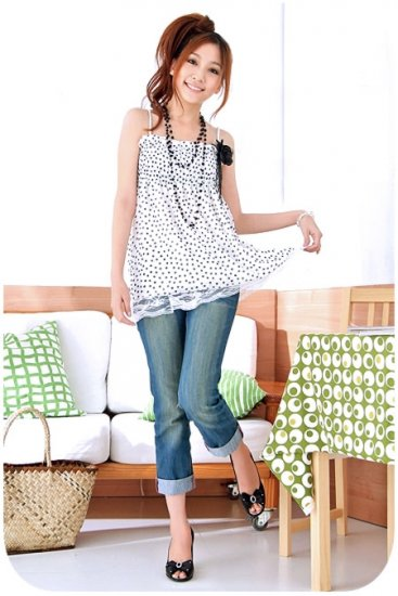 Black Ruffle Chest Dots Chiffon Halther
