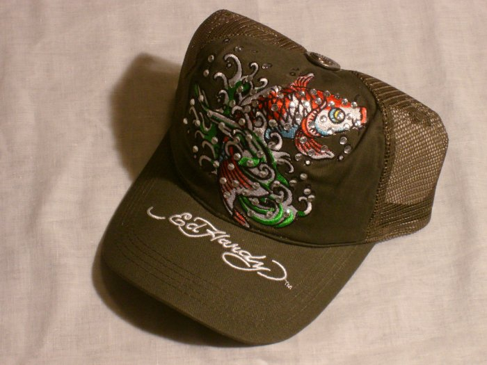 "ED HARDY KOI FISH RHINESTONE TRUCKER HAT ""OLIVE"""