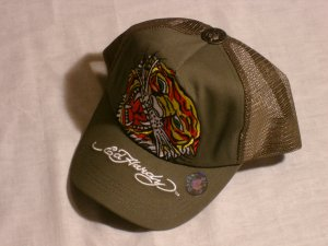 "ED HARDY TIGER TRUCKER HAT ""OLIVE"""