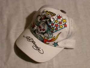 "ED HARDY DEATH OR GLORY TRUCKER HAT ""WHITE"""