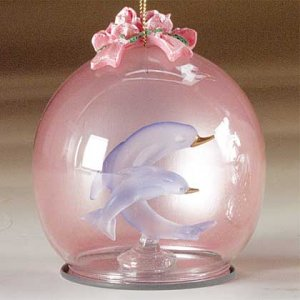 XMAS GLASS ORNAMENT - DOLPHINS - Code: 29207