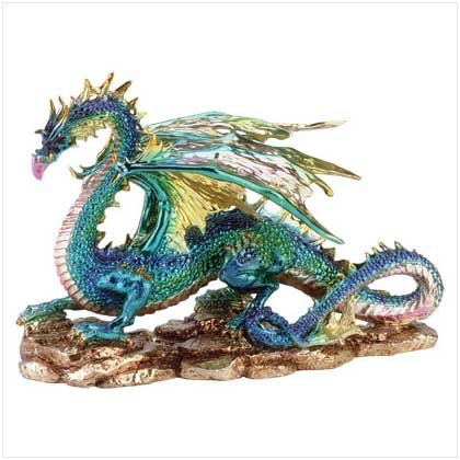 Metallic Finish Dragon On Rock - Code: 34214