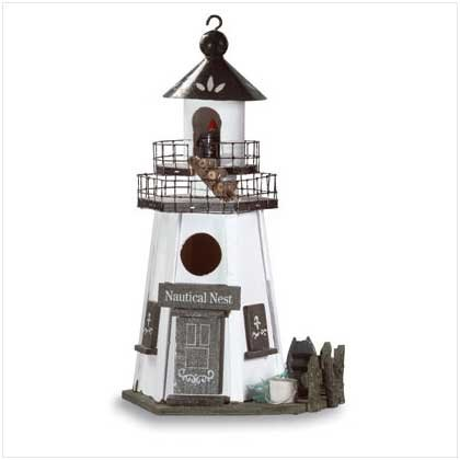 WOOD LIGHTHOUSE BIRDHOUSE - Code: 30208