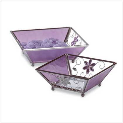 Purple Glass Candle Plate - 2 Pc - Code: 35246
