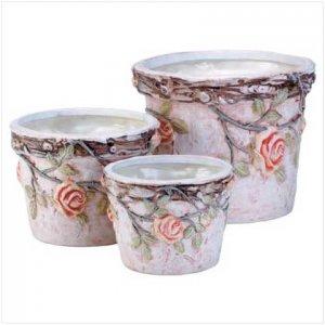 3Pc Ceramic Flowers Pot - Code: 34067