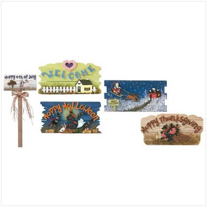 Season Signs with Stake Set - 6 Pc - Code: 34722