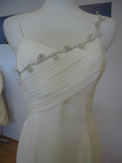 Silk Chiffon Gown with Silver Detail