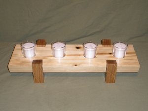 Handcrafted Wooden 4 Votive Candle Holder